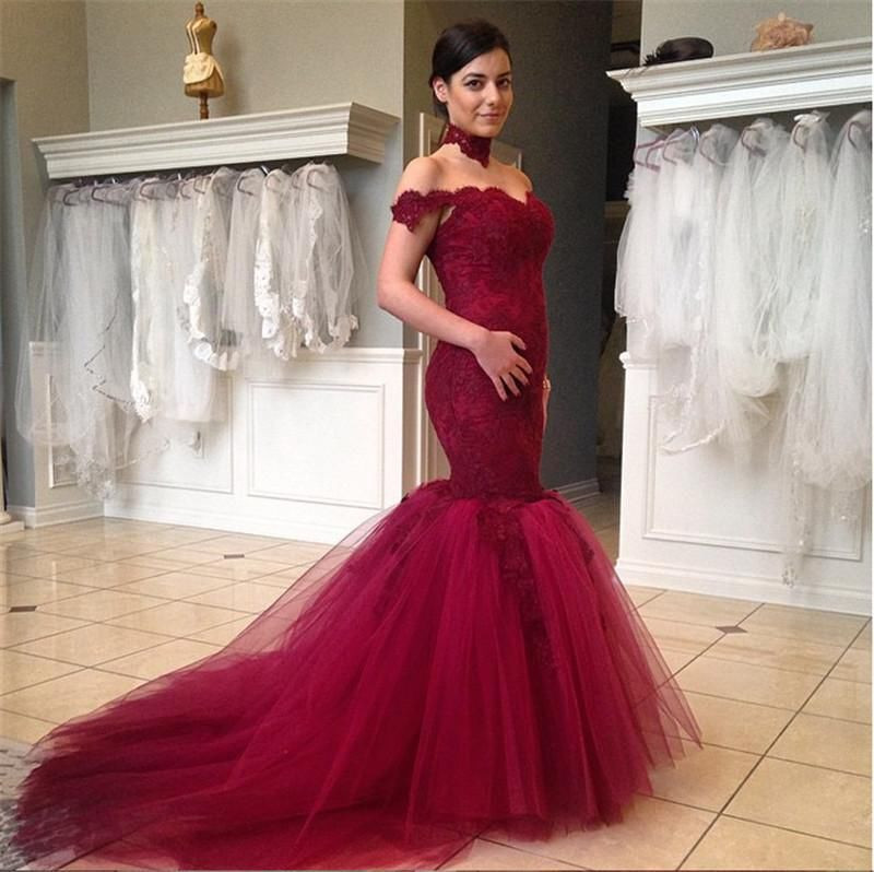 Magenta Lace And Tulle Trumpet Engagement Prom Gown