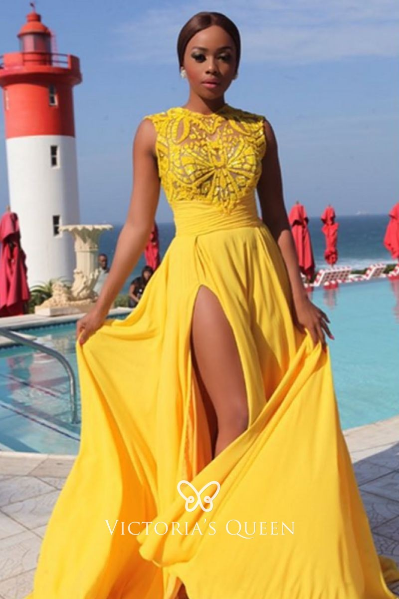 Mango Lace And Spandex Split A Line Long Prom Dress