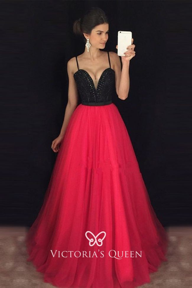 Red Tulle Two-tone Designer Prom Gown