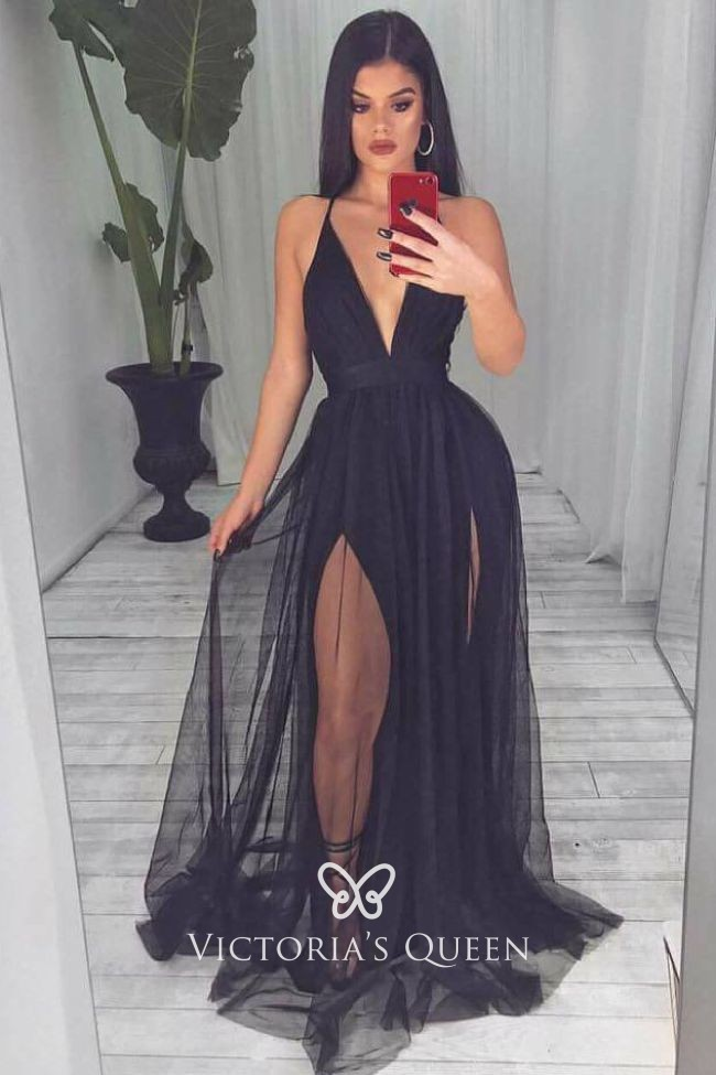Sexy Black Tulle Plunging Neckline Open Back Prom Dress Vq