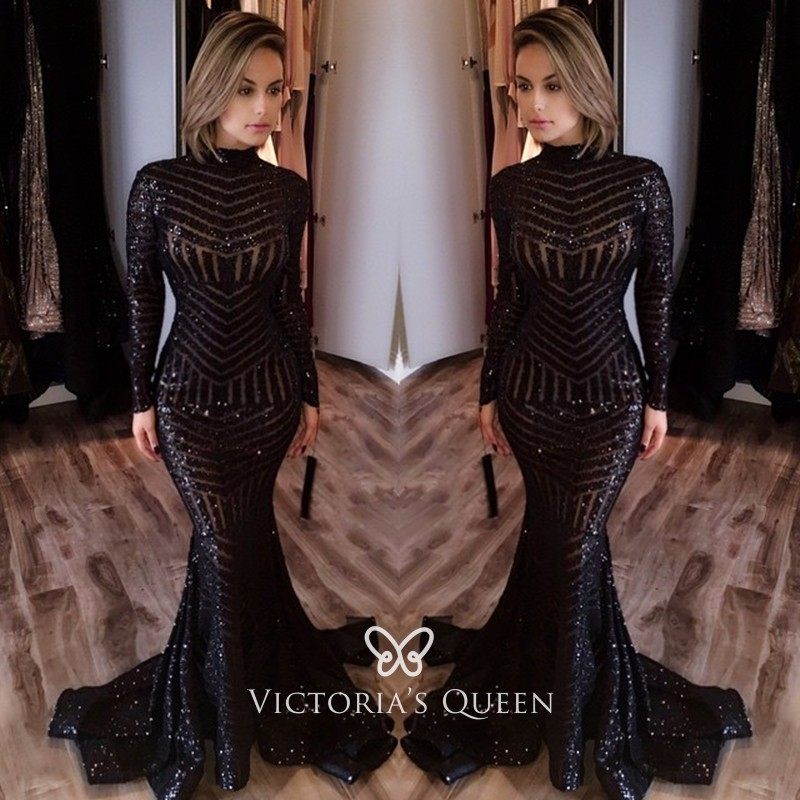 Black Striped Sequin Long Sleeve Mermaid Prom Dress