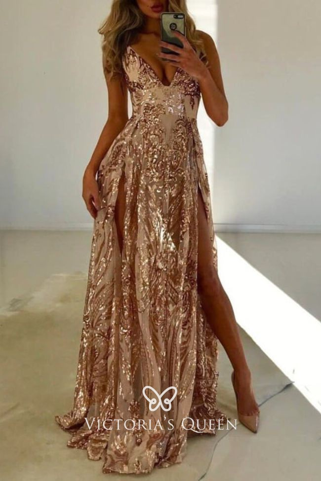 Sparkly Gold Sequin Sexy Double Split Long Prom Dress Vq