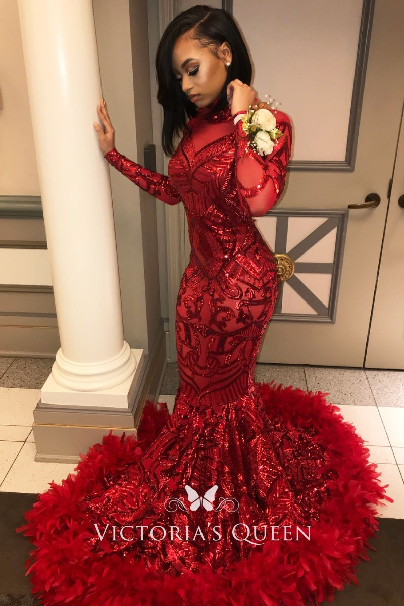 02e70c9553 Gorgeous red sequin with feather hemline long sleeve mermaid long prom dress