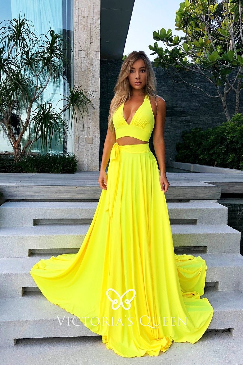 Bright Yellow Jersey Prom Dress Halter