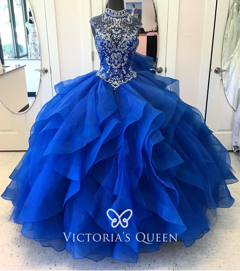 Ruffled Royal Quinceañera Prom Dress