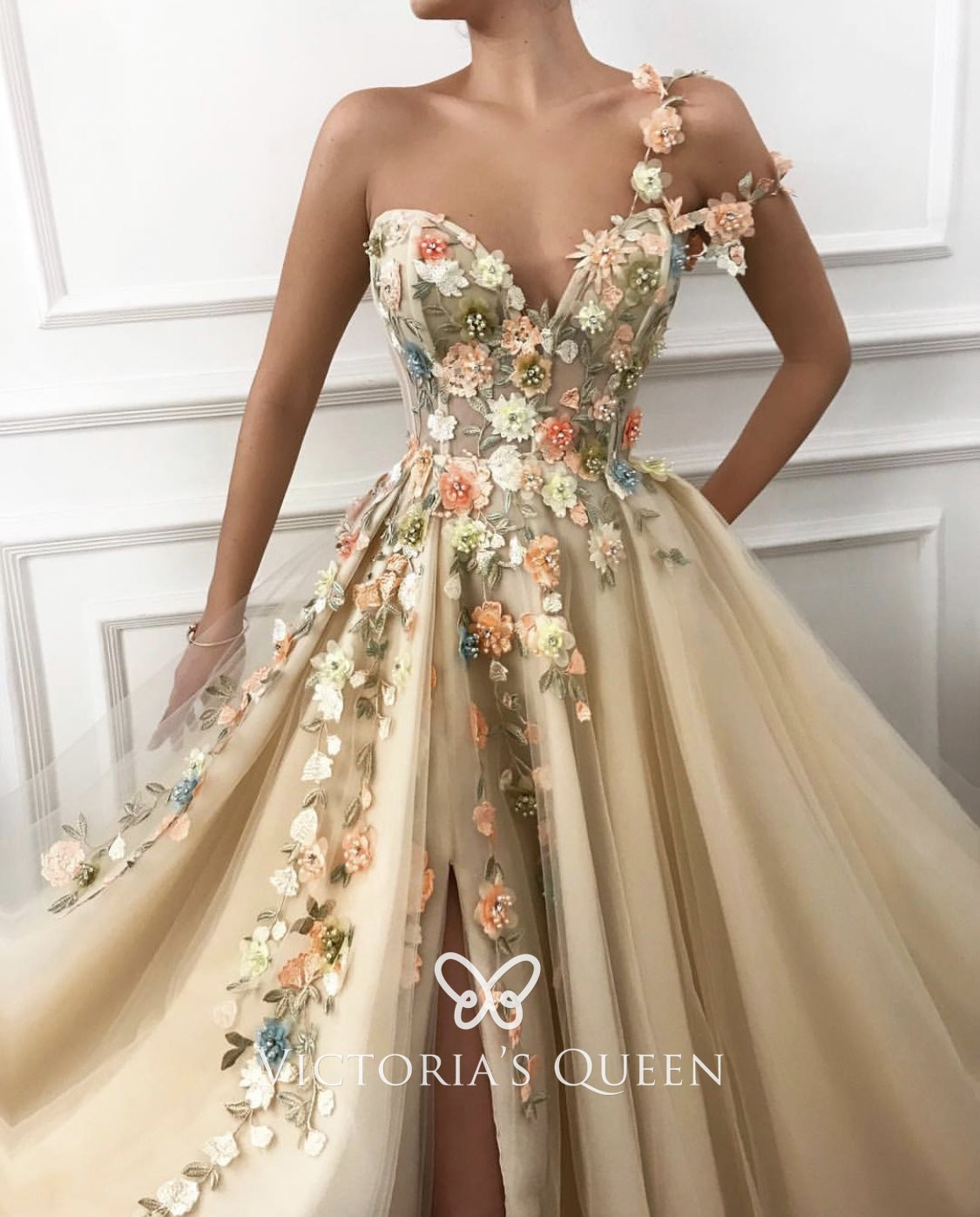 Nude Tulle with Flowers One Shoulder Split Evening Gown - VQ