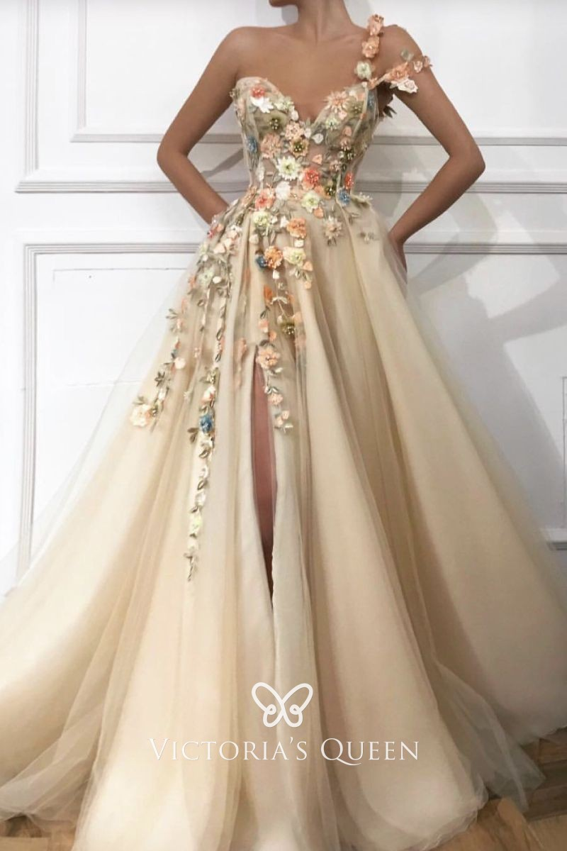 VQ Romantic 3D Flowers Embellished Nude Evening Dress
