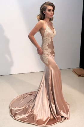 Gorgeous Gold Formal Dresses Rose Gold Evening Prom Gowns Vq