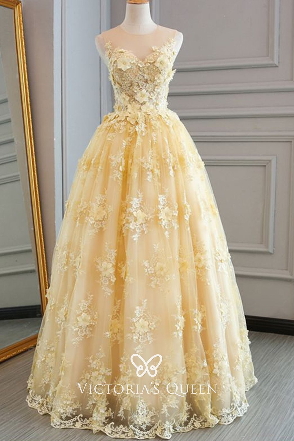 Ball Gown 3d Floral Lace Appliqued Yellow Prom Dress Vq