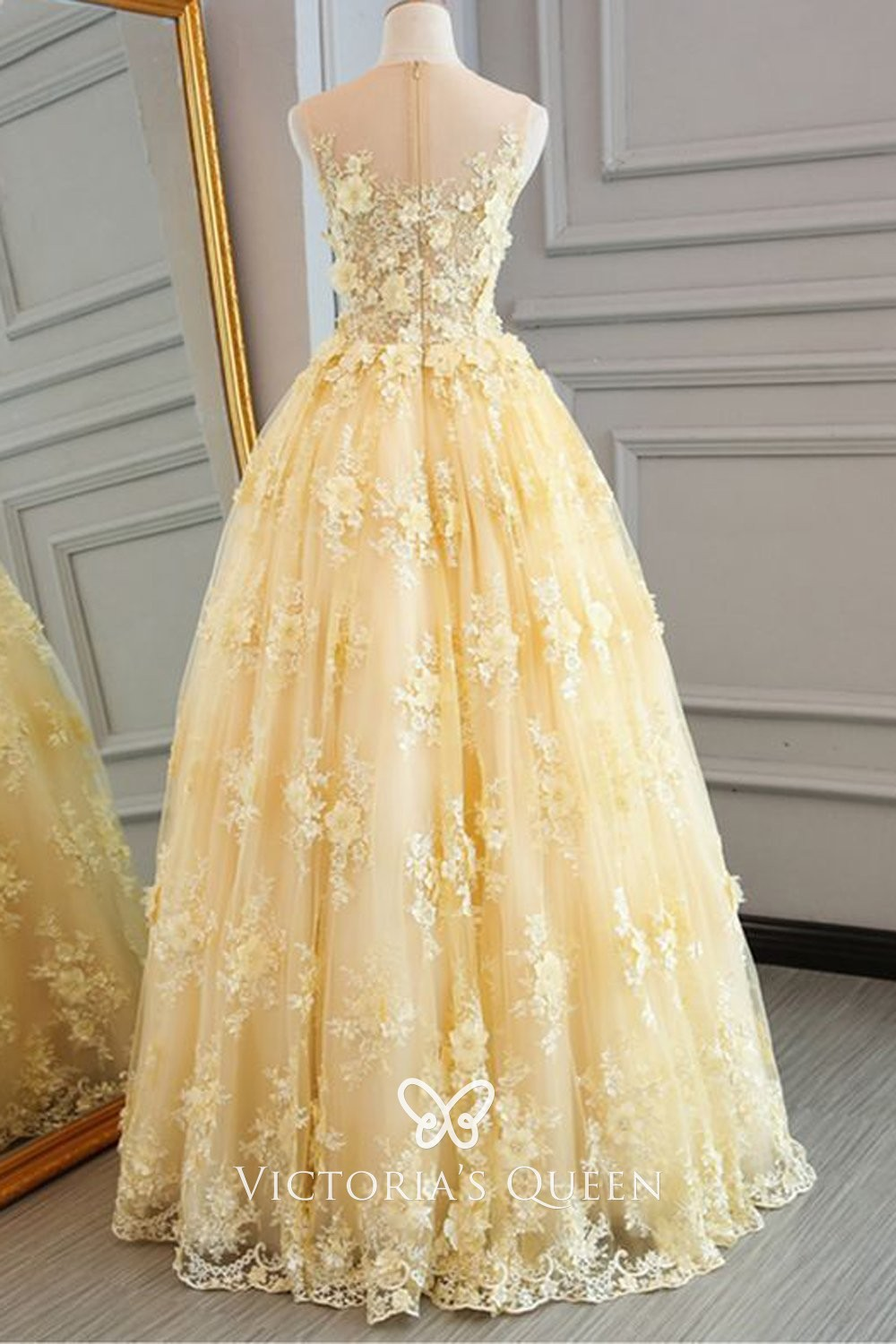 Ball Gown 3D Floral Lace Appliqued
