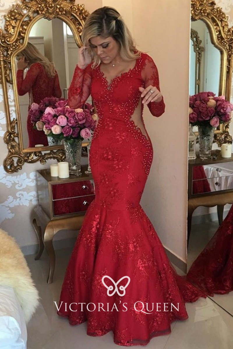 Unique Beaded Red Lace Trumpet Mermaid Prom Dress