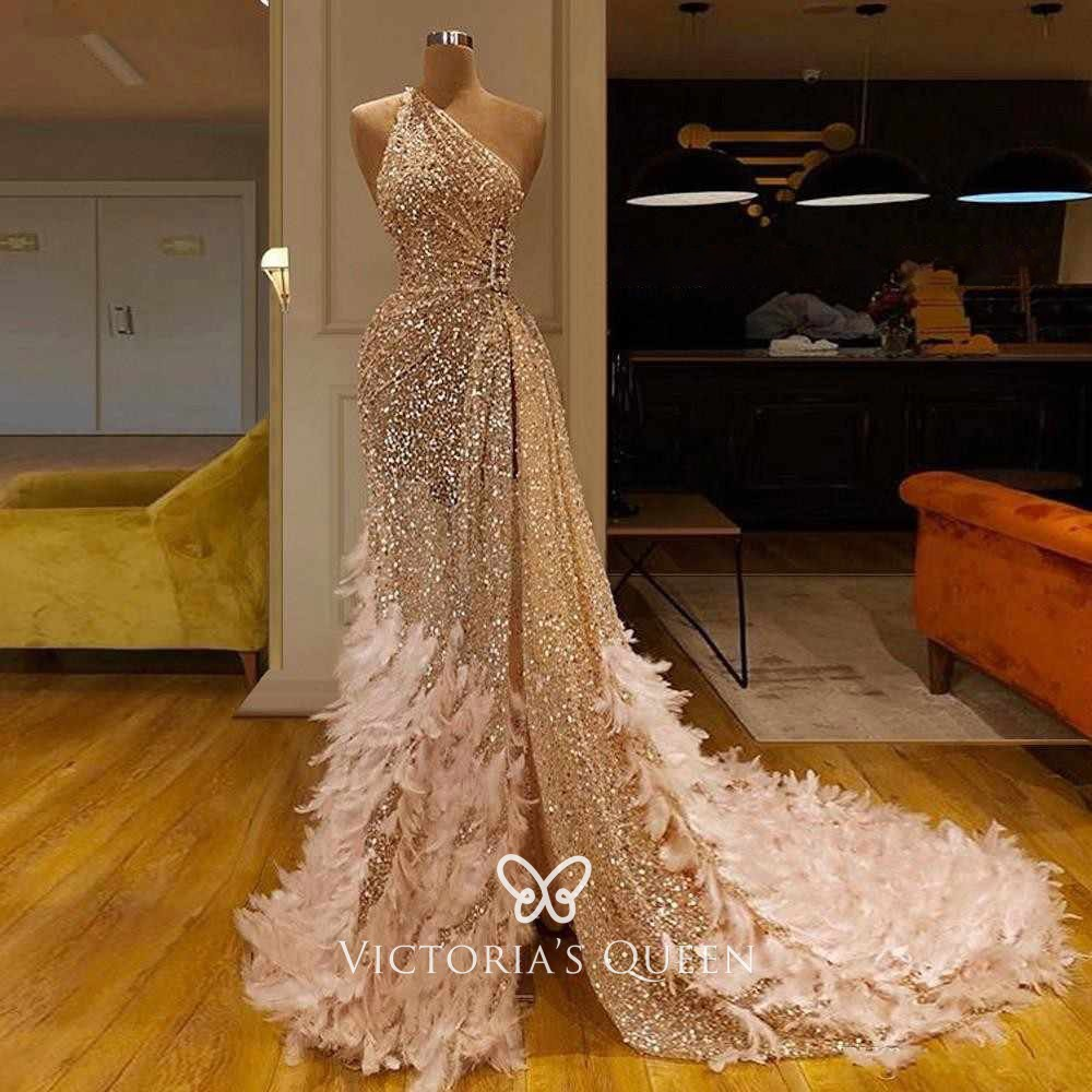 One Shoulder Nude Glitter Mesh Unique Long Prom Dress