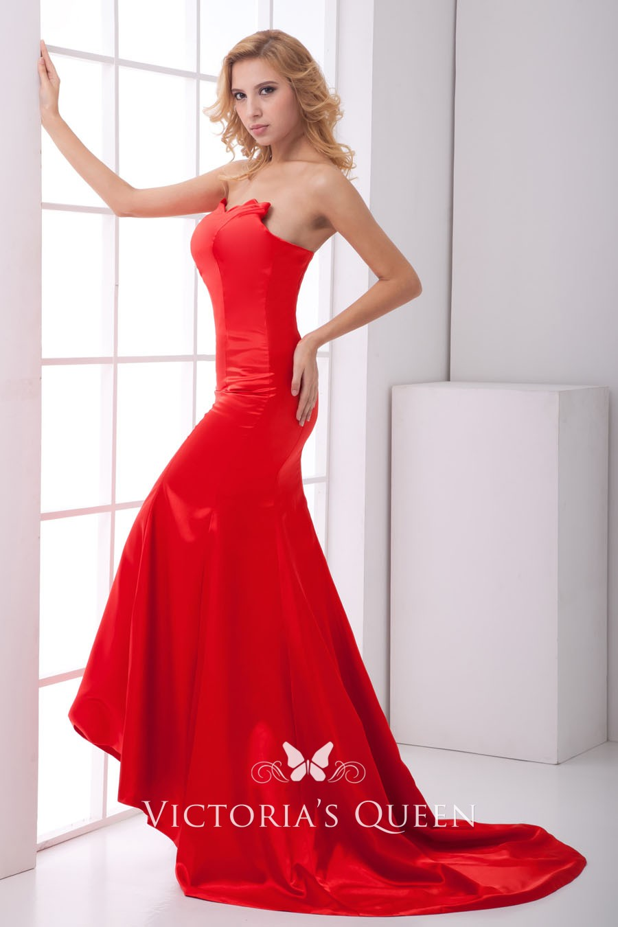 a280e79079bf Scalloped Sweetheart Strapless Red Satin Mermaid Long Prom Dress ...