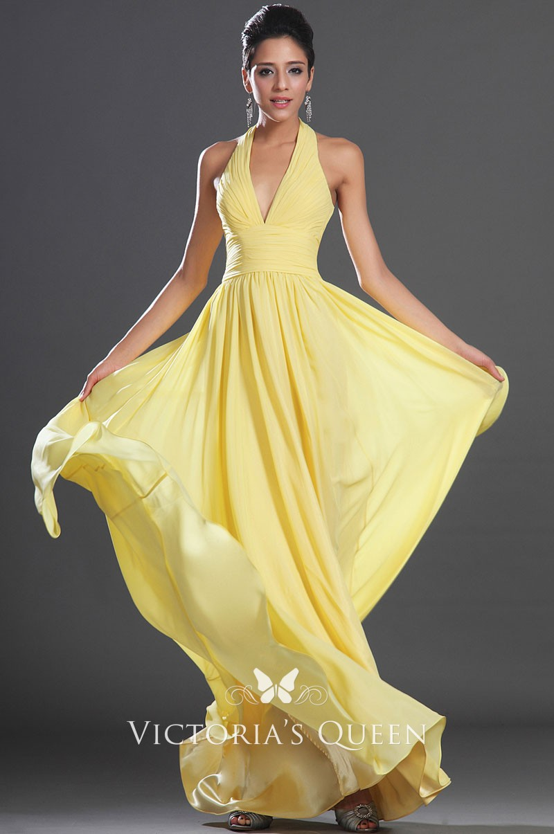 Simple Yellow Chiffon Halter A Line Long Evening Prom Dress