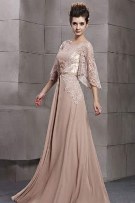 ef6fce9d0f0 Elegant Nude Flutter Sleeve A line Long Chiffon and Lace Evening Dress