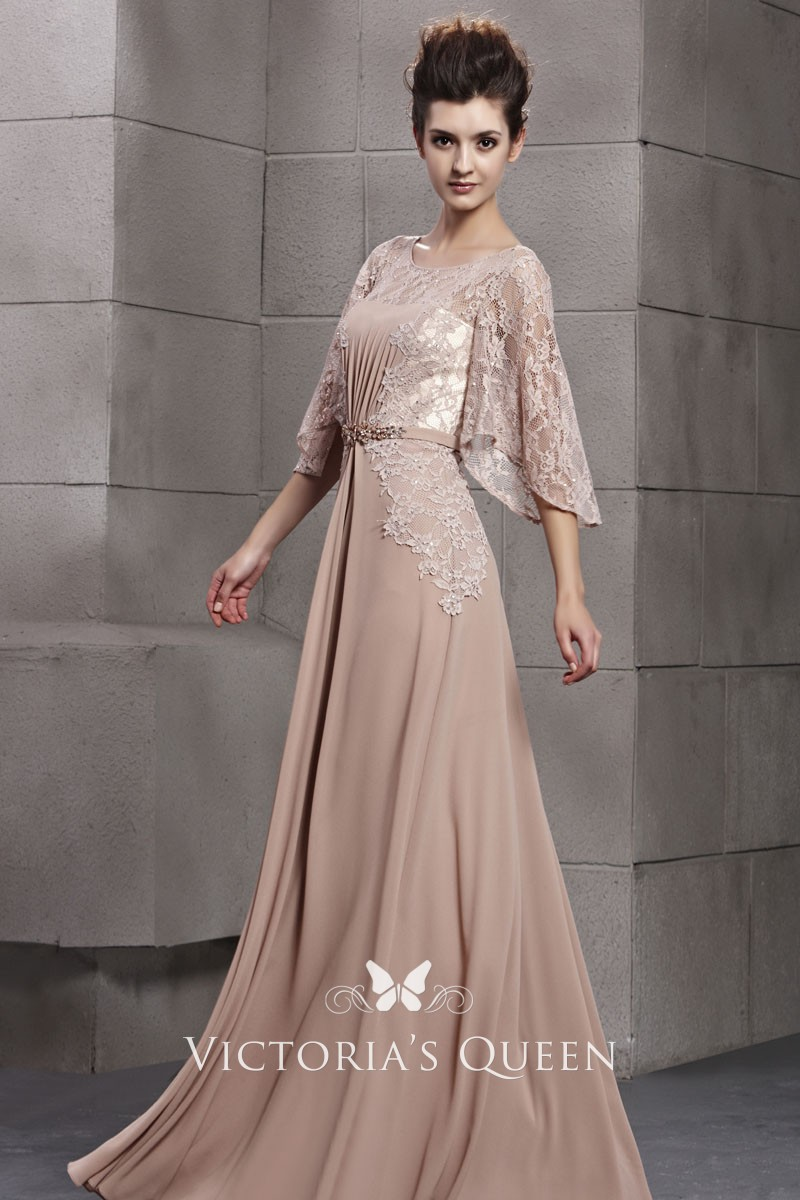 Chiffon Cocktail Dress with Sleeves