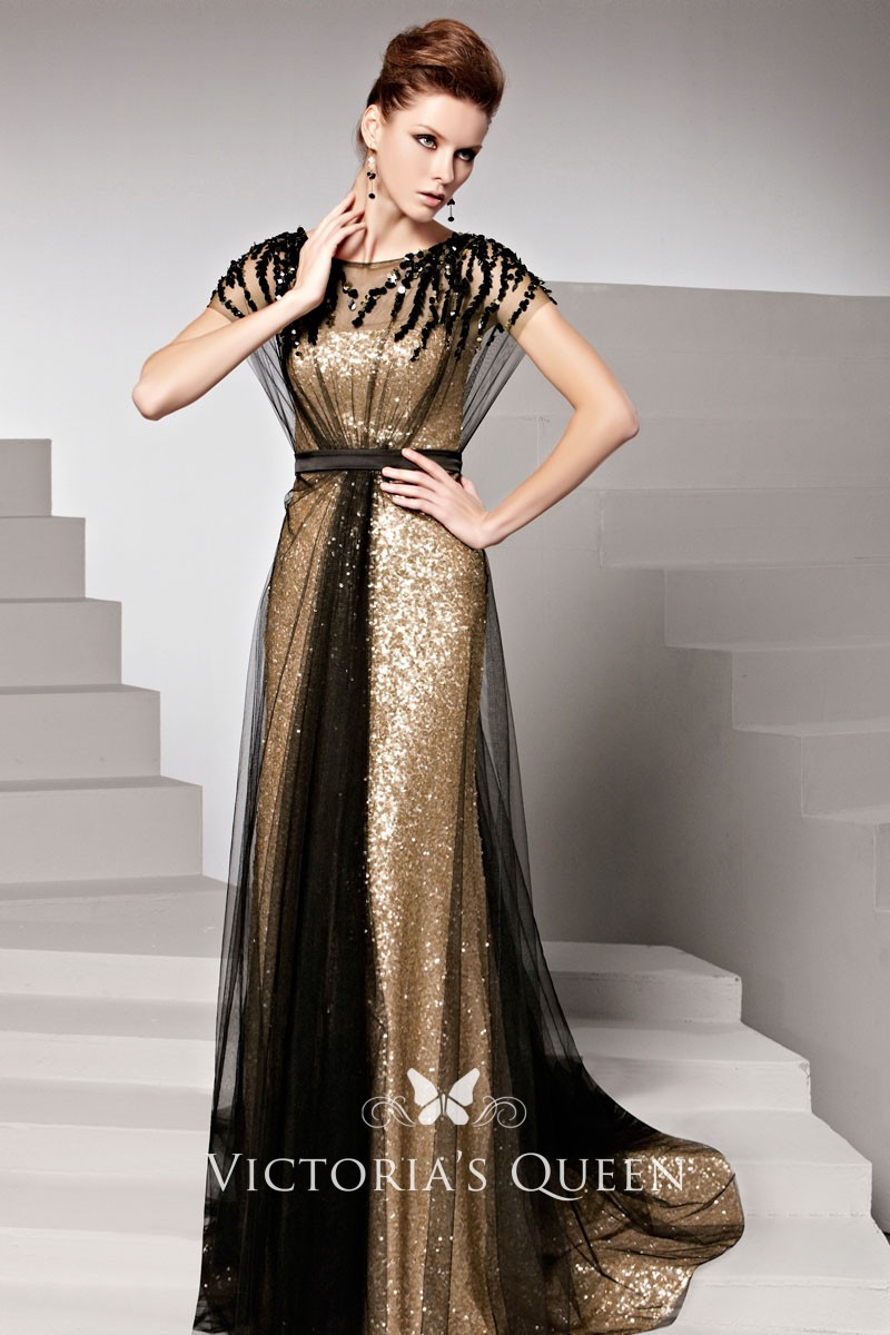 Gold Sequined Evening Prom Dress Black Tulle Overlay