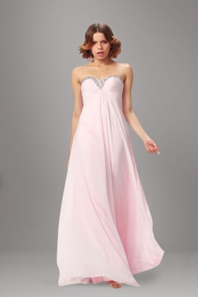 655b91d7610eb Beaded strapless sweetheart empire waist simple candy pink chiffon prom  dress