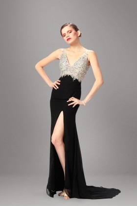 92be8535f2b0e Modern crystals beaded with black chiffon high split long prom dress