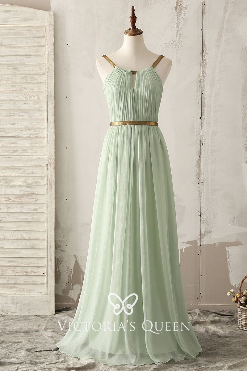 41b125de6a Gold Strap Sage Green Chiffon Crepe Floor Length A-line Bridesmaid Dress