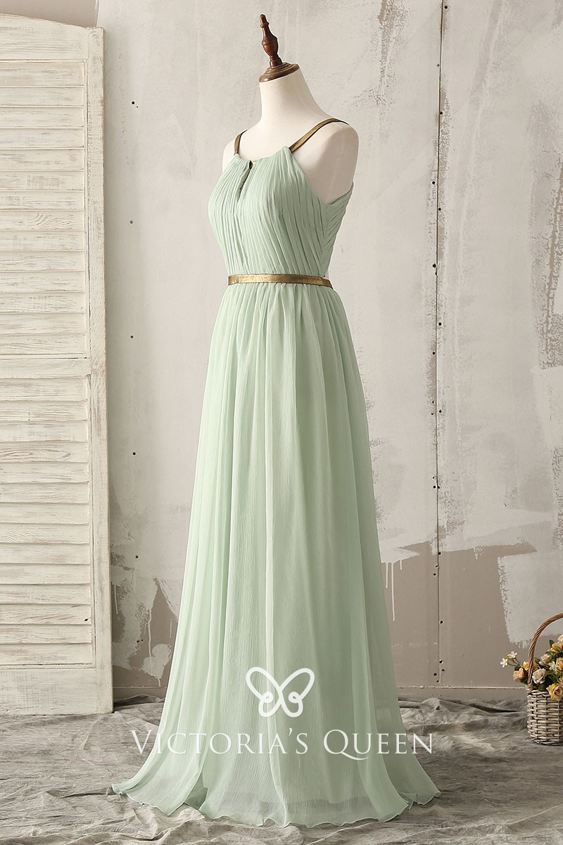 2210fc01c0fce7 Gold Strap Sage Green Chiffon Crepe Floor Length A-line Bridesmaid ...