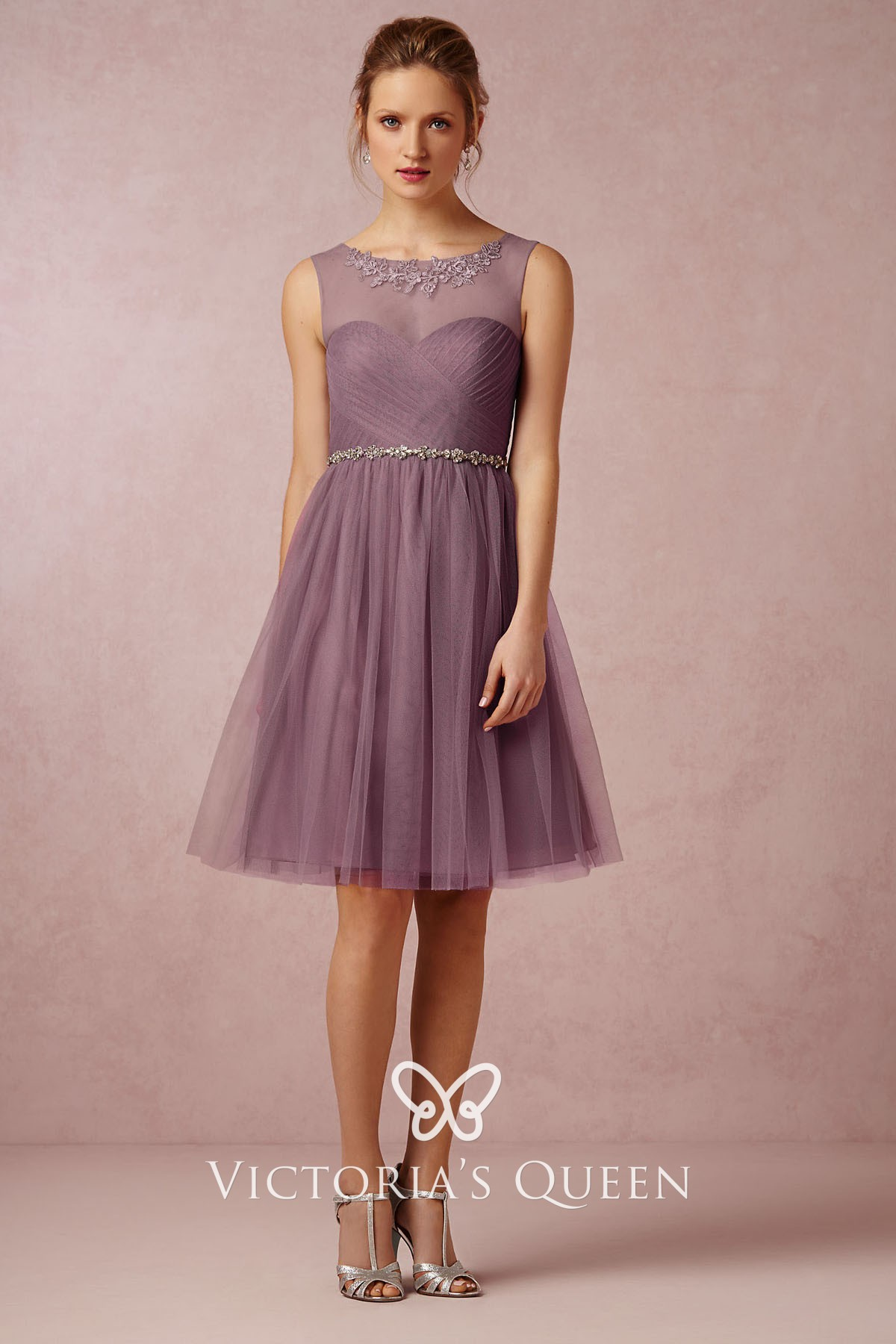 Pastel Purple Chiffon With Tulle Short