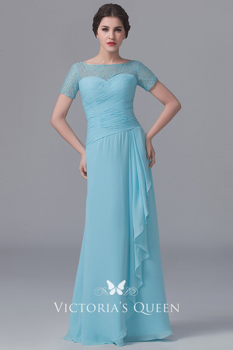 c70417d2c7600 Illusion bateau neck short sleeve pleated light blue chiffon long  bridesmaid dress