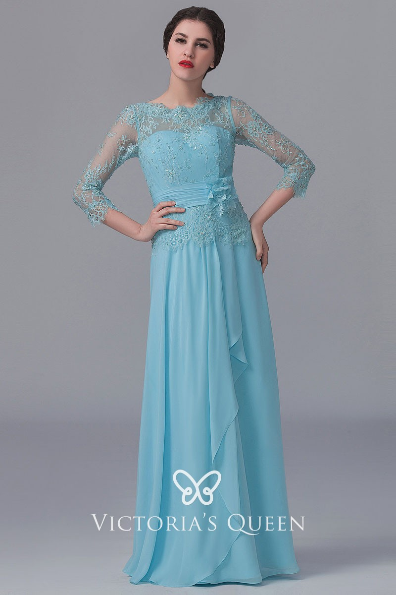 Beaded Sheer Long Sleeve Sky Blue Bridesmaid Dress