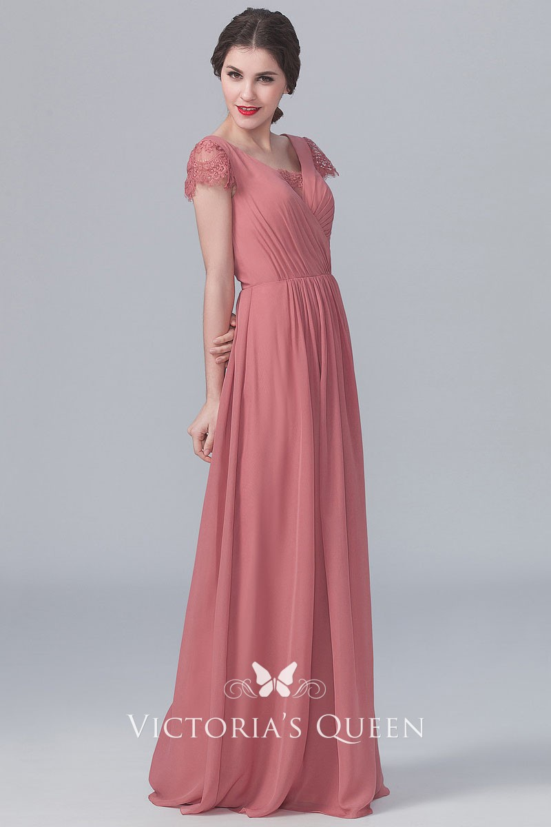 60d499c32f1a Dusty Rose Chiffon A-line Long Vintage Bridesmaid Dress with Lace ...