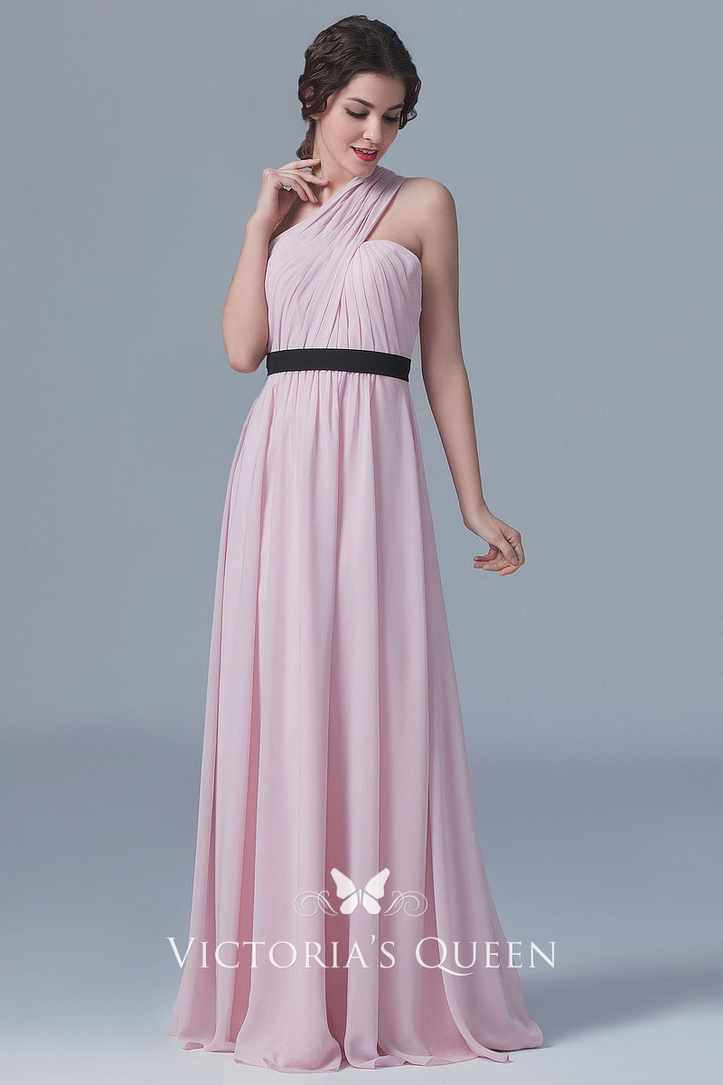 One Shoulder Chiffon Bridesmaid Dresses with Satin Belt