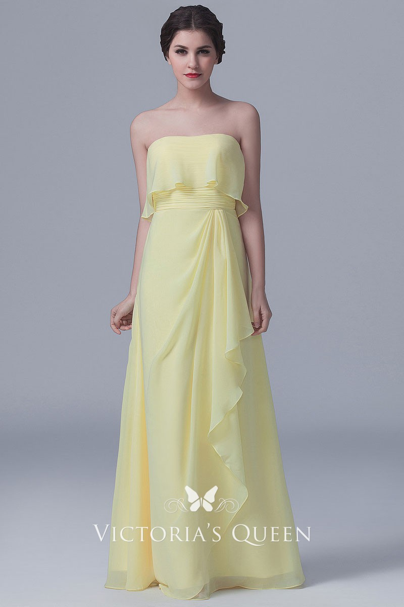f87aeaf9a07e Strapless ruffled daffodil chiffon floor length A line long bridesmaid dress