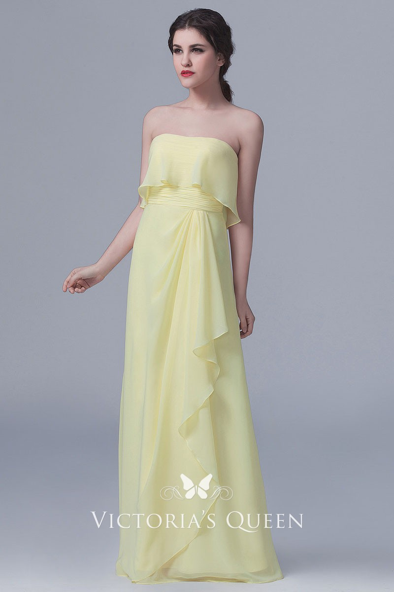 443b49ed940d Strapless Ruffled Daffodil Chiffon Floor Length A-line Long ...