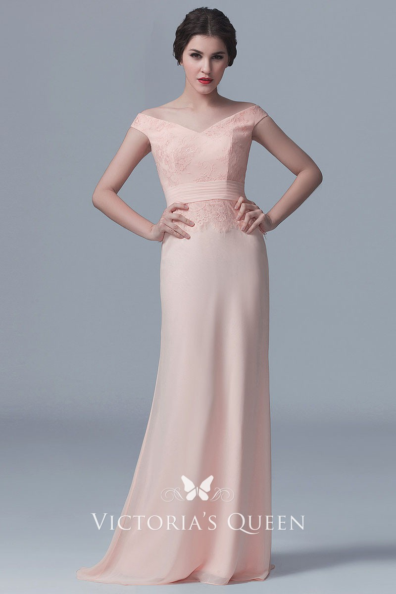 85c426fad609 Off the shoulder blush lace and chiffon elegant floor length bridesmaid  dress