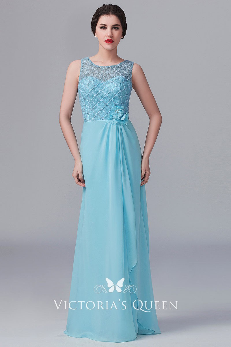 Pastel Blue Lace And Chiffon Illusion Bridesmaid Dress Vq