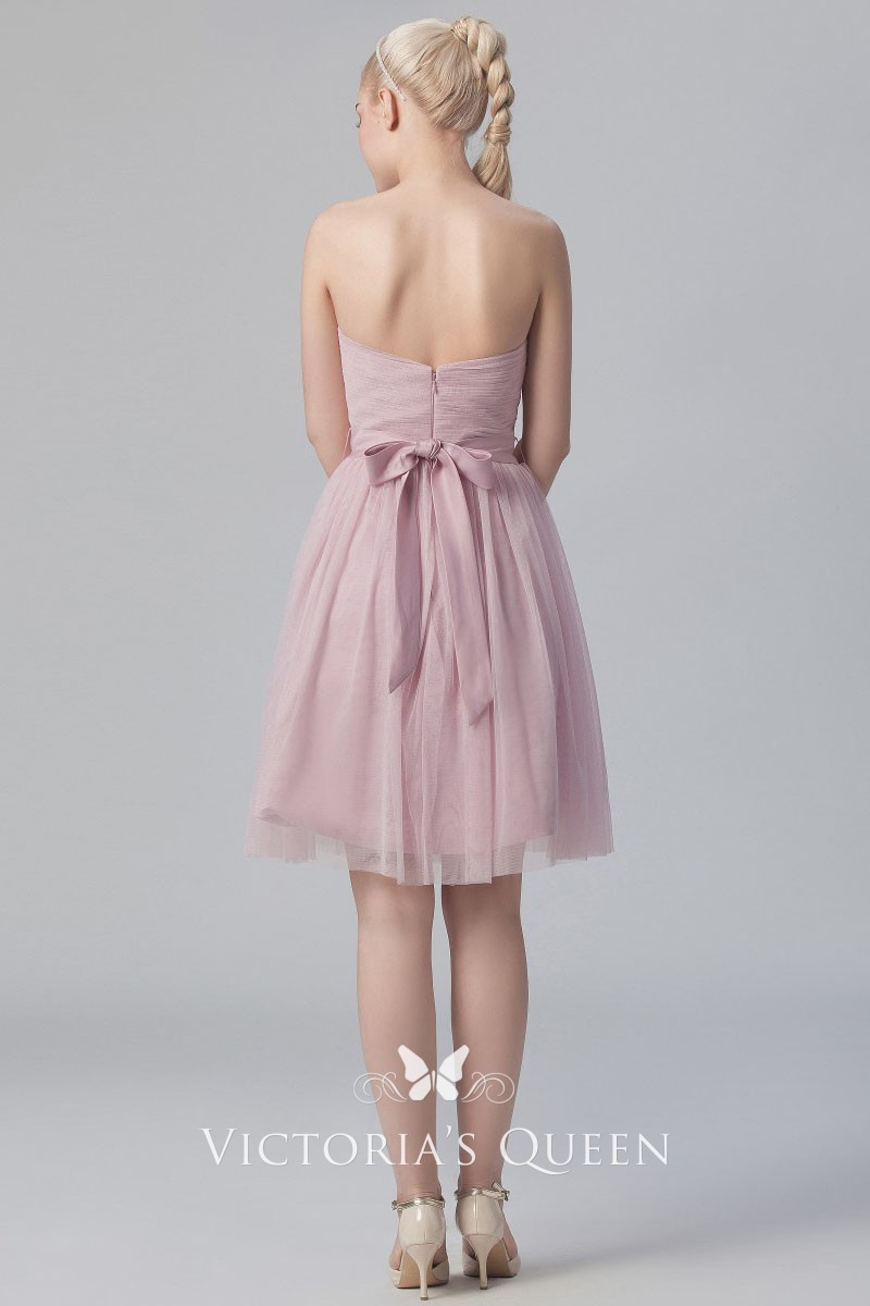 82d6311a59f blush tulle knee length short A line bridesmaid dress. blush tulle pleated  strapless sweetheart ...
