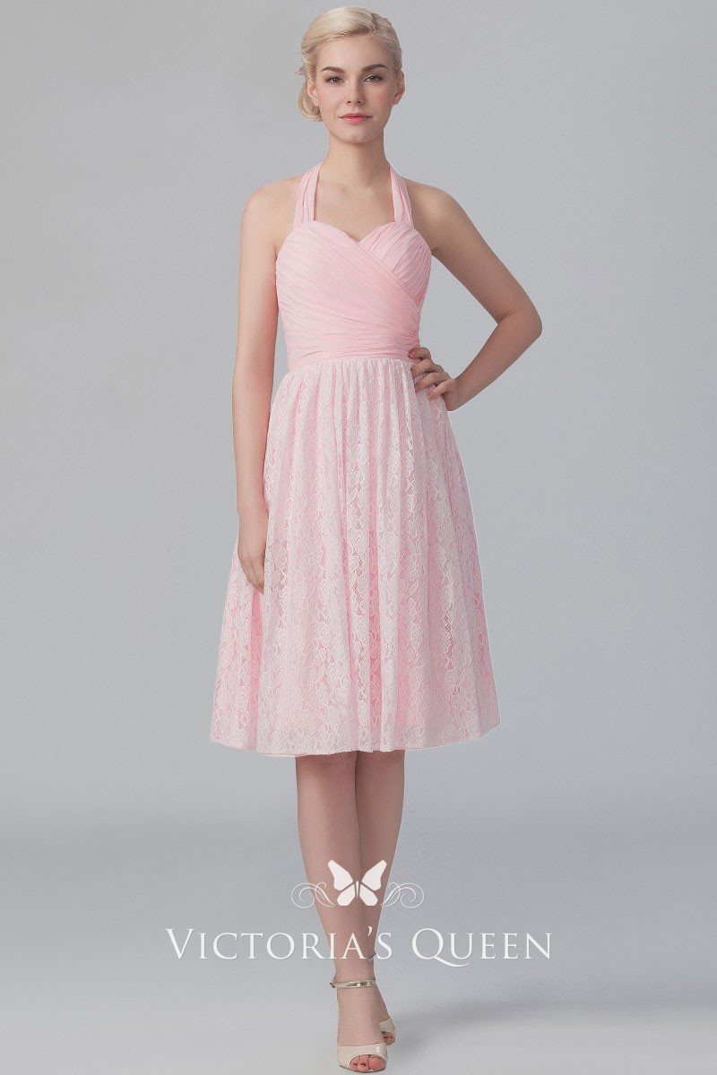 086ffdcffc Pink lace and chiffon cute halter sweetheart criss cross ruched short  bridesmaid dress