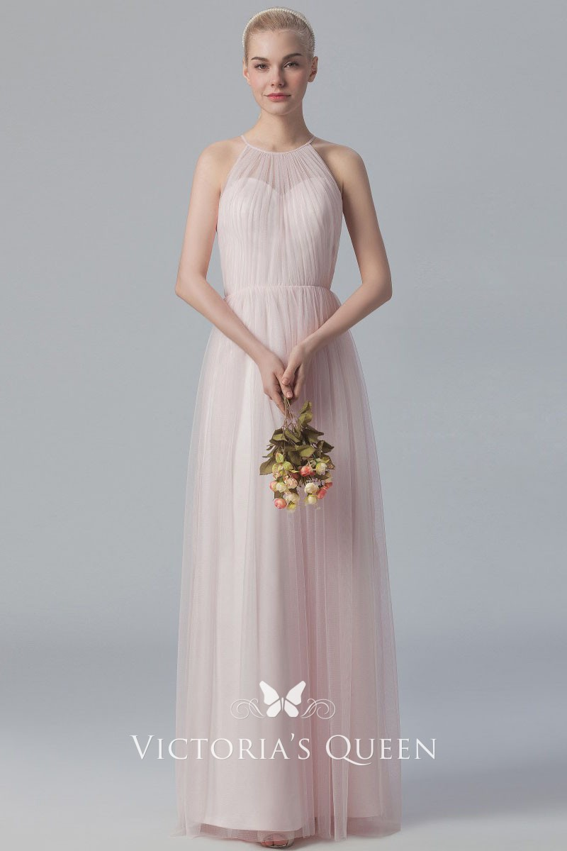 Soft Pink Tulle Long Bridesmaid Dress