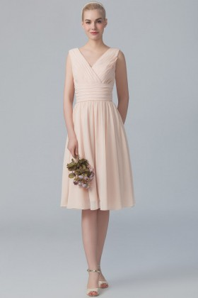 8003af7d0be180 pleated blush chiffon casual sleeveless V neck short A line bridesmaid dress
