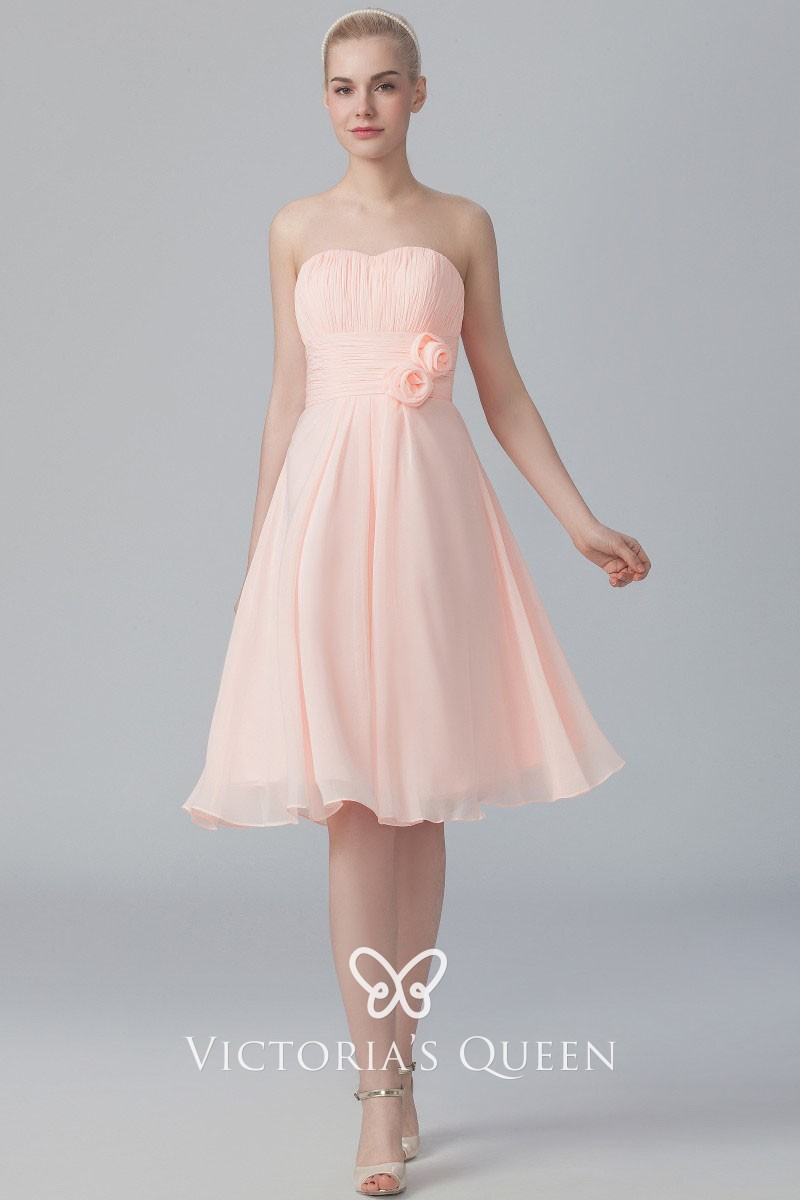 hot-selling official fashion style of 2019 2019 best sell Pearl Pink Chiffon Strapless Cute 3D Flowers Short A-line Bridesmaid Dress