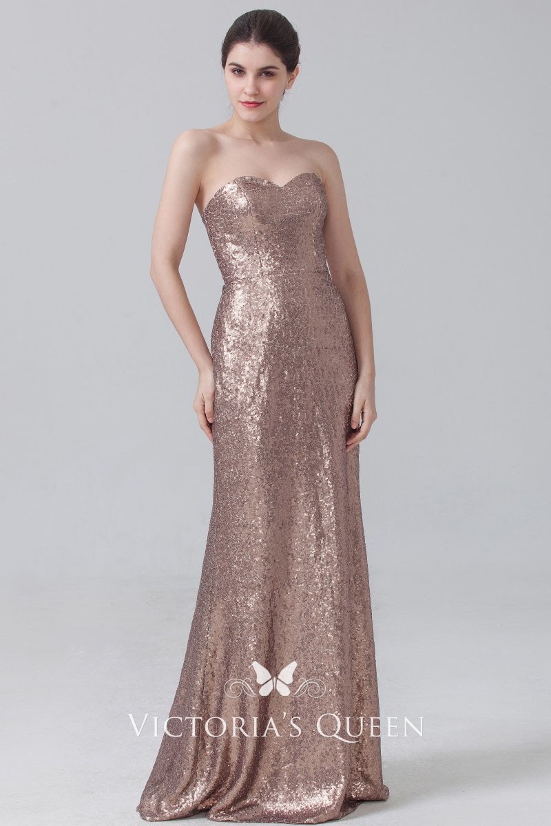 Strapless Sweetheart Rose Gold Full Sequin Floor Length A,line Bridesmaid  Dress