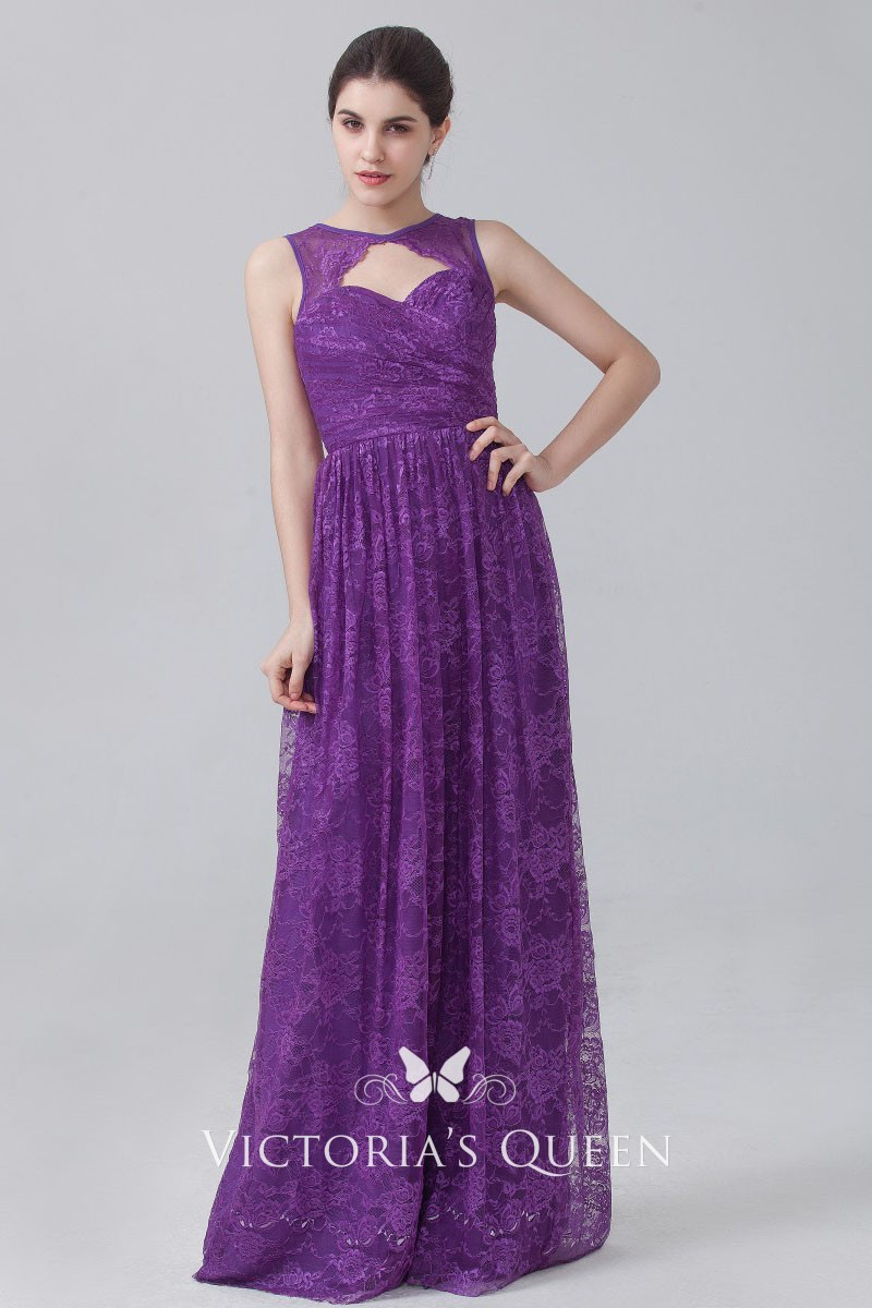 b9bb0becd7 Floral Purple Lace Elegant Sweetheart Keyhole Empire Waist Long Bridesmaid  Dress