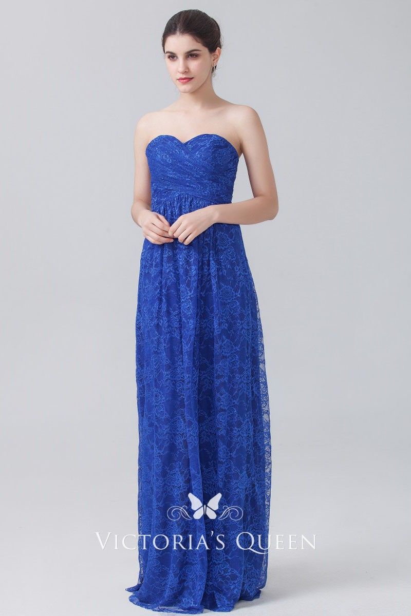Blue Lace Strapless Sheath Long Wedding Guest Dress