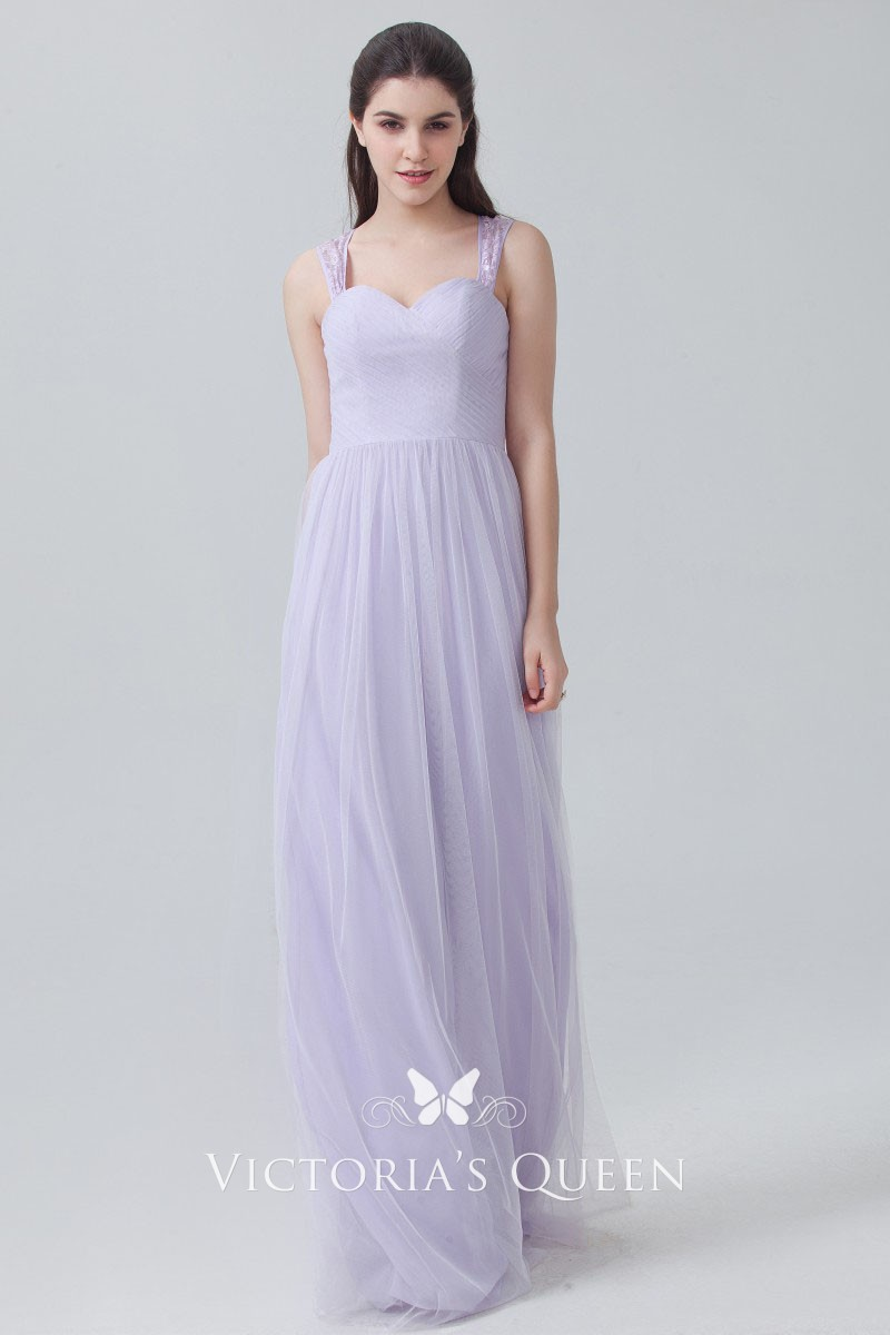 c8319fcfefc0 lavender chiffon and tulle cute sweetheart slim A line long bridesmaid dress