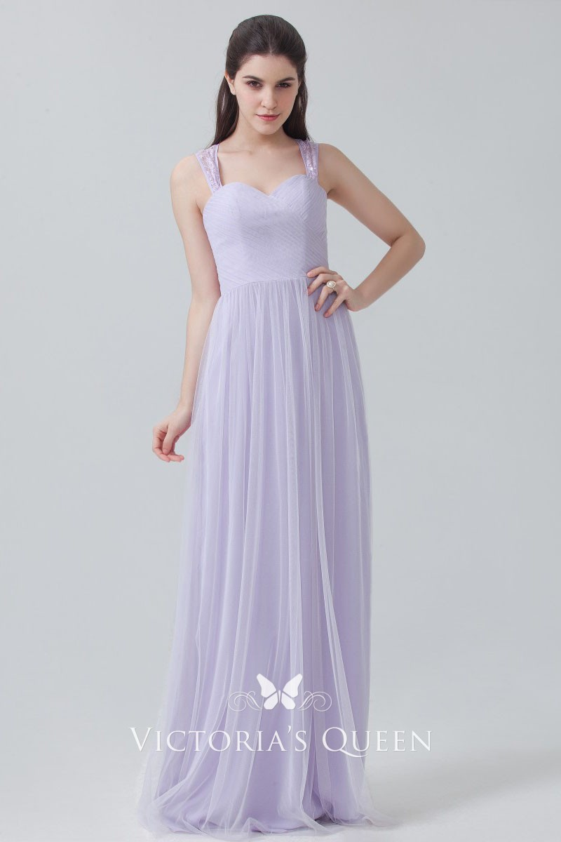 5667fdcbd8f5 Lavender Chiffon and Tulle Cute Sweetheart Slim A-line Long ...