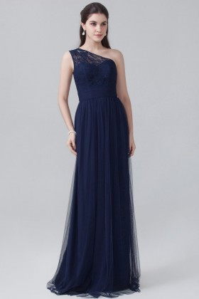 Navy blue Grecian style one shoulder lace and tulle floor length bridal  party gown 328c258091c1