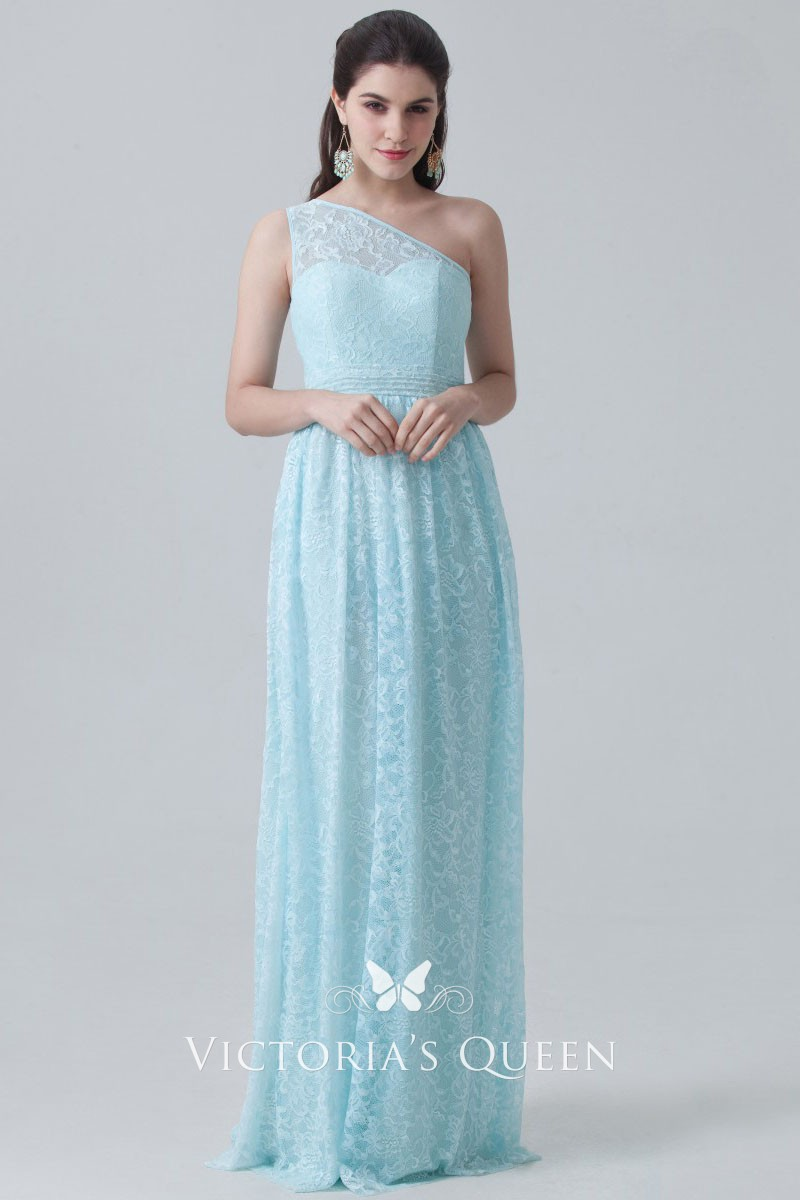 85fc0378a8d77 Light blue lace illusion one shoulder empire waist sheath long bridesmaid  dress