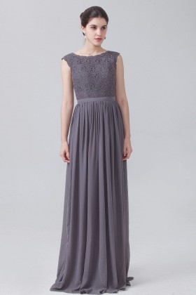 43cd5836ae449 Charcoal grey lace and chiffon vintage cap sleeve boat neckline bridesmaid  dress