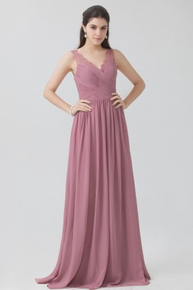 aec18c70e02abf Pleated dusty rose chiffon sleeveless V neckline vintage bridesmaid dress