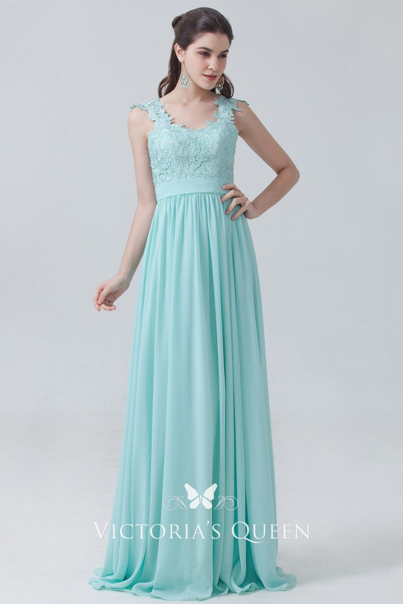 537d2da07c94 Mint lace and chiffon empire waist scalloped straps A line long bridesmaid  dress