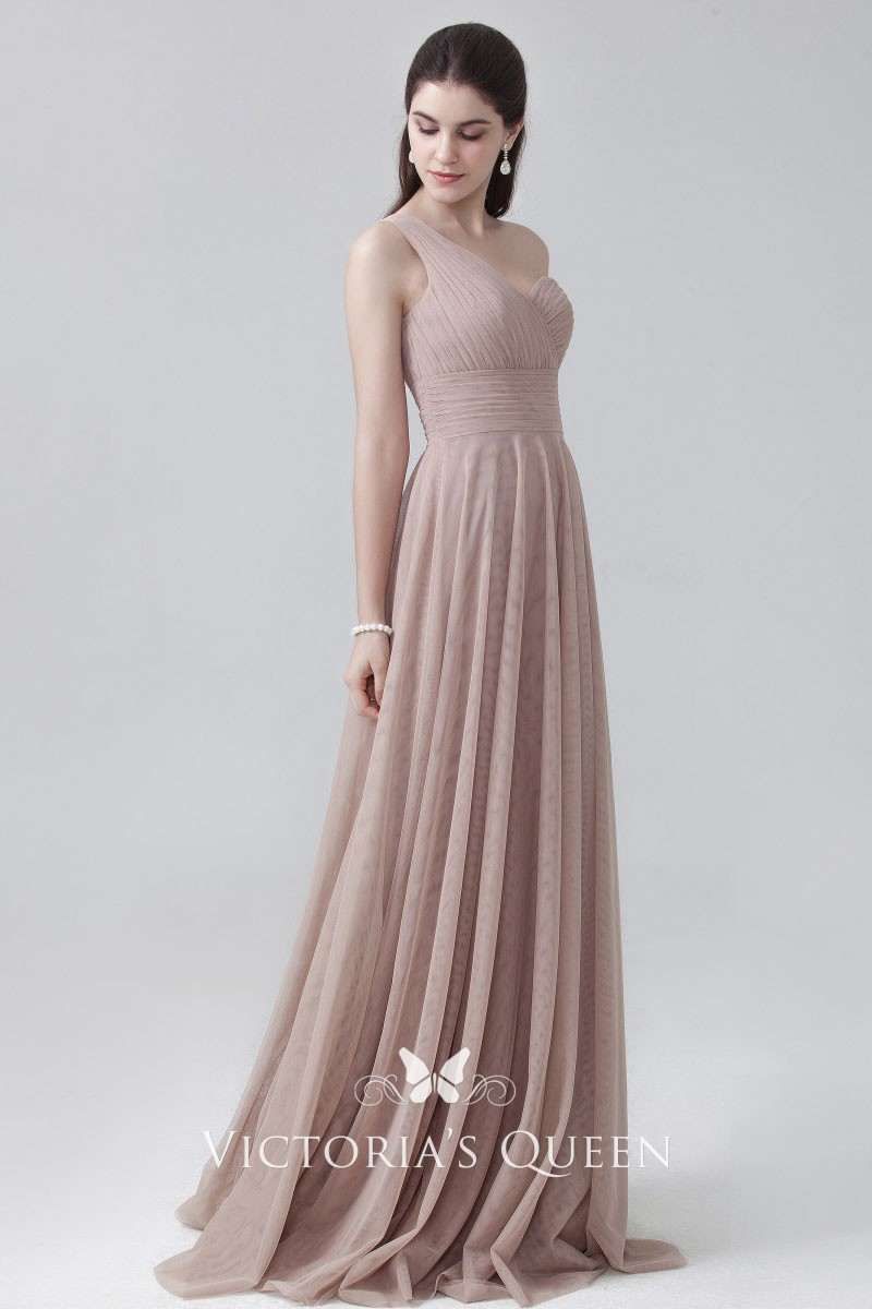 0c5d4845b43e Pleated Coffee Tulle Classical Sweetheart One Shoulder Empire Waist ...